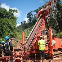 Drilling operation at Montagne d'Or