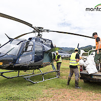 Helicopter delivering supplies at Camp Citron, Montagne d'Or